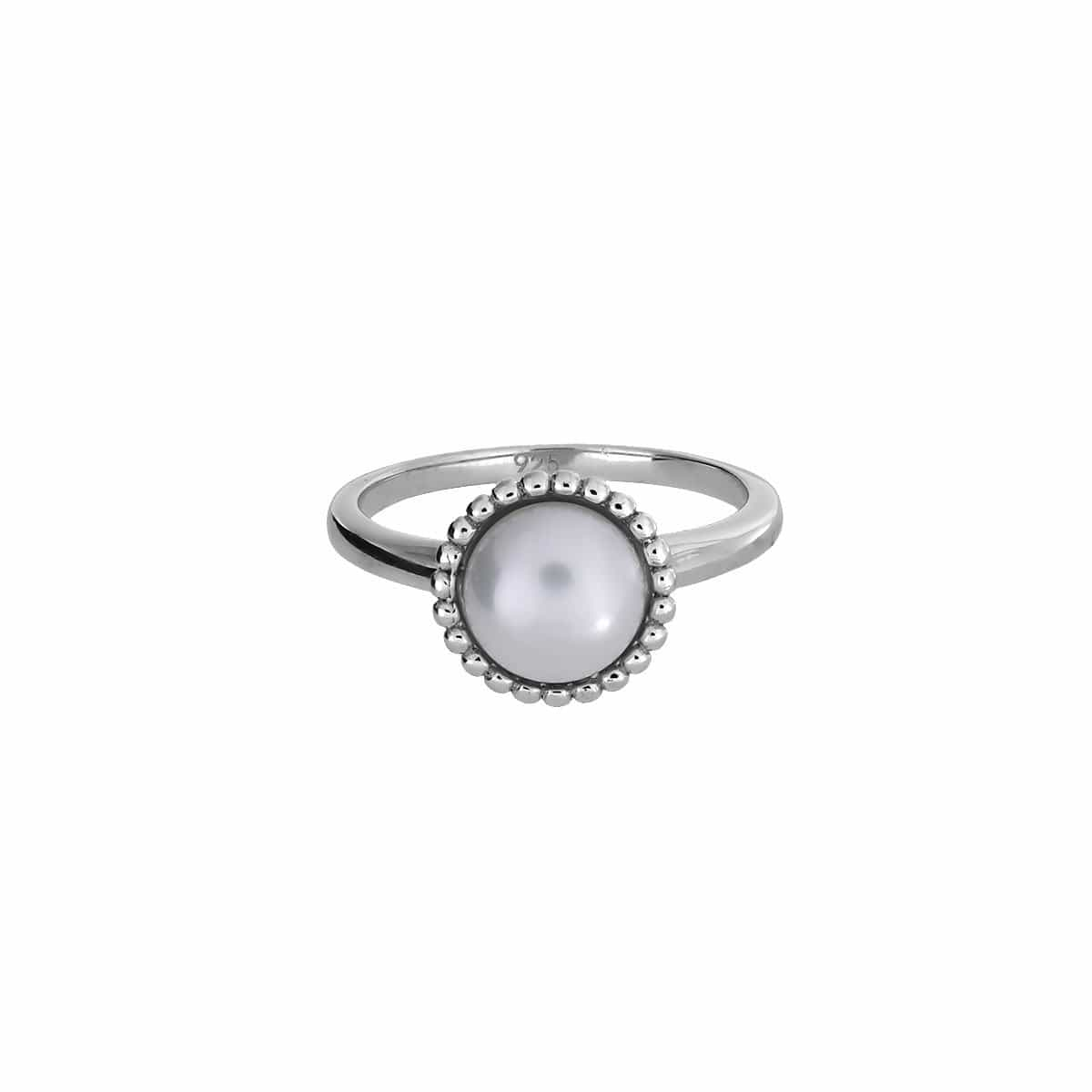 58 Silver & Pearl Beaded Edge Ring