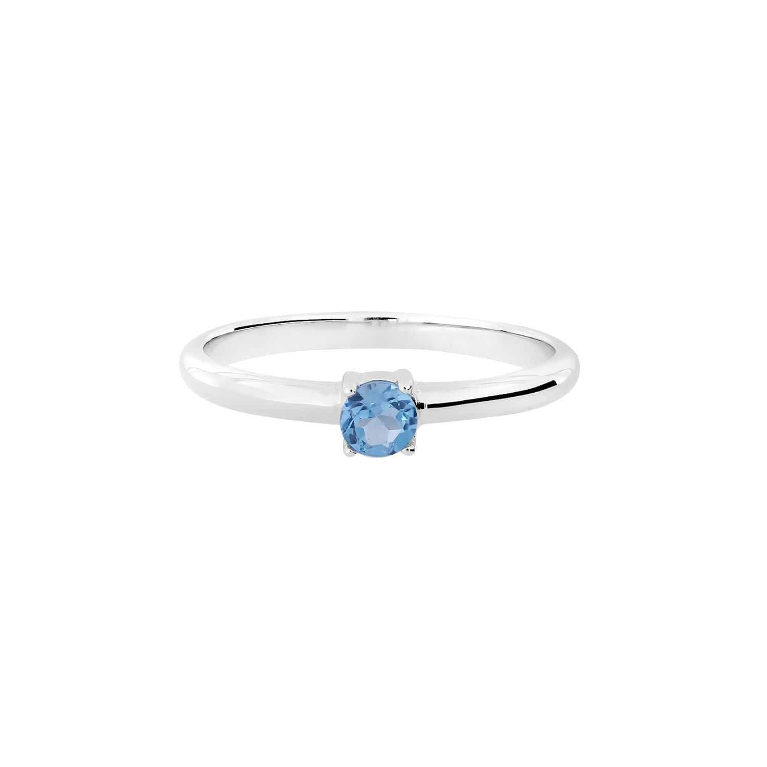 58 Solitaire Blue Topaz Silver Ring