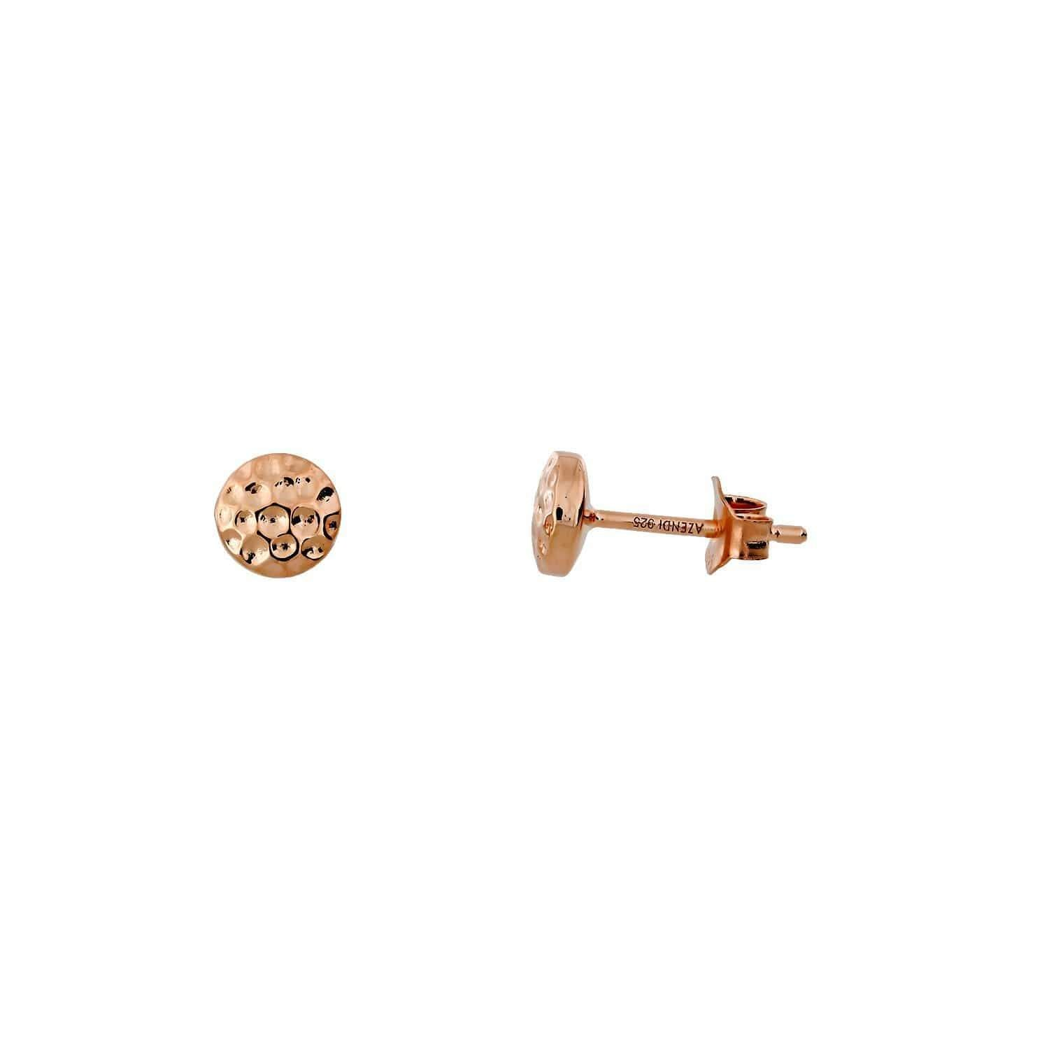 6mm / Rose Gold Vermeil Planished Double Curved Button Stud Earrings - Rose Gold Vermeil