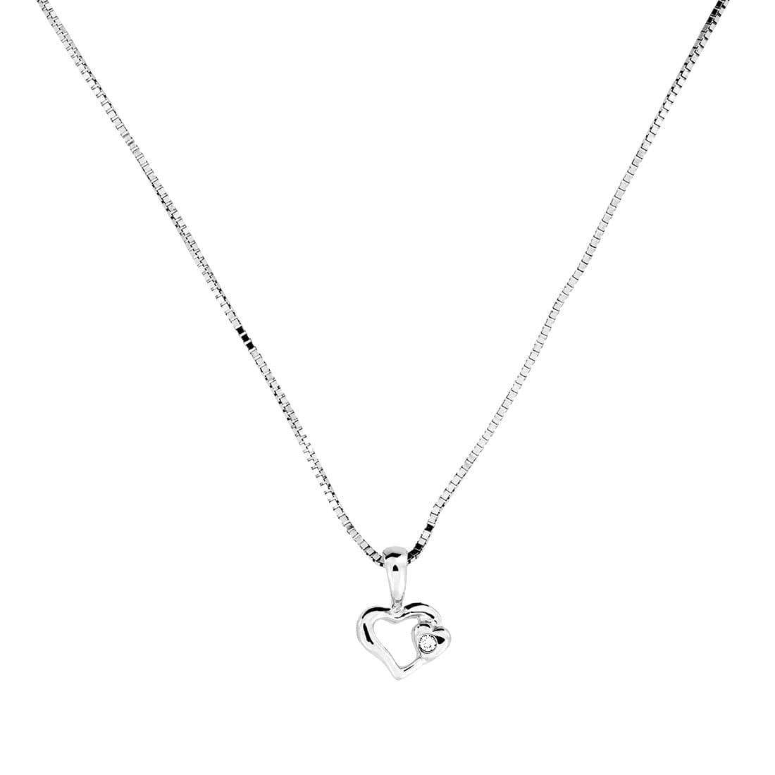 9ct White Gold and Diamond Little Heart Pendant