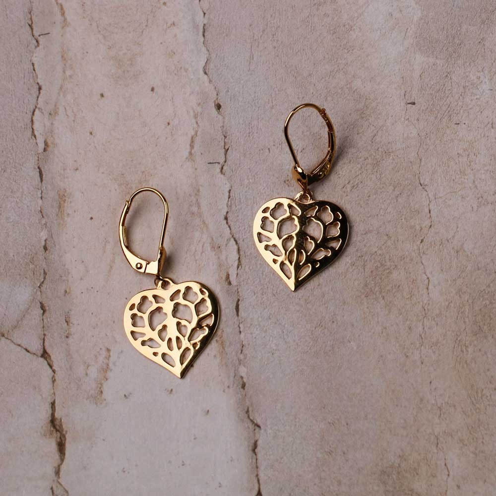 9ct Yellow Gold Heart of Yorkshire Drop Earrings