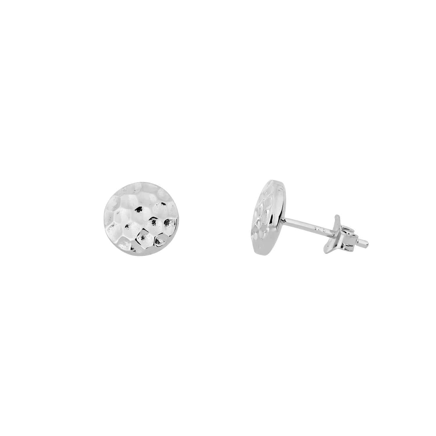 9mm / Silver Planished Double Curved Button Stud Earrings