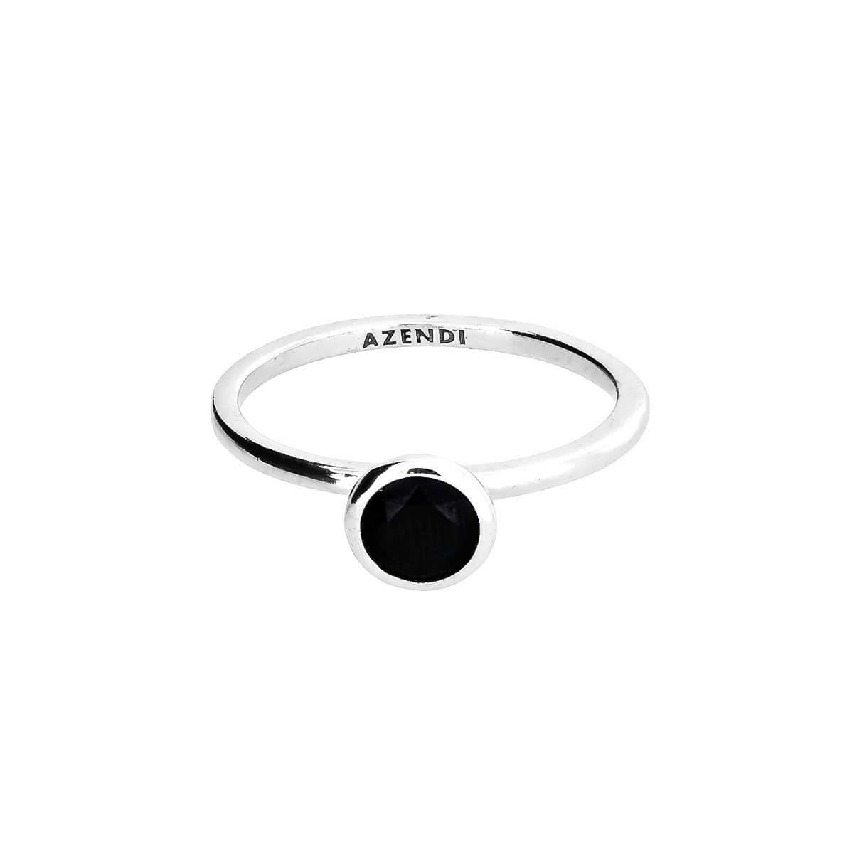 Black Spinel and Silver Ring