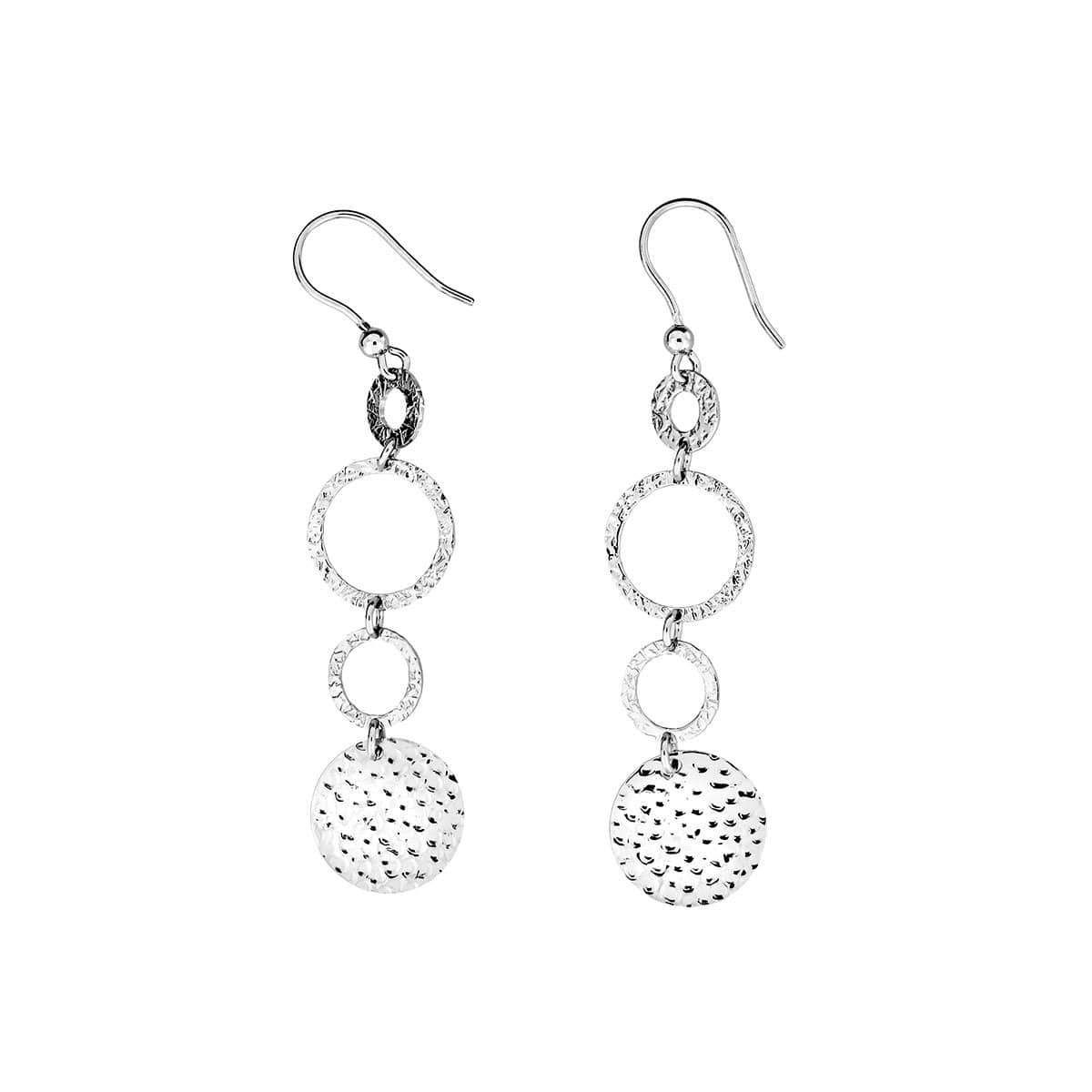 Coniston Hammered Silver Drop Earrings