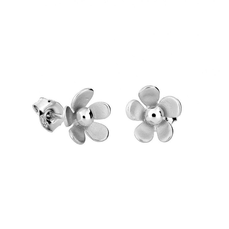 Frosted Silver Flower Studs