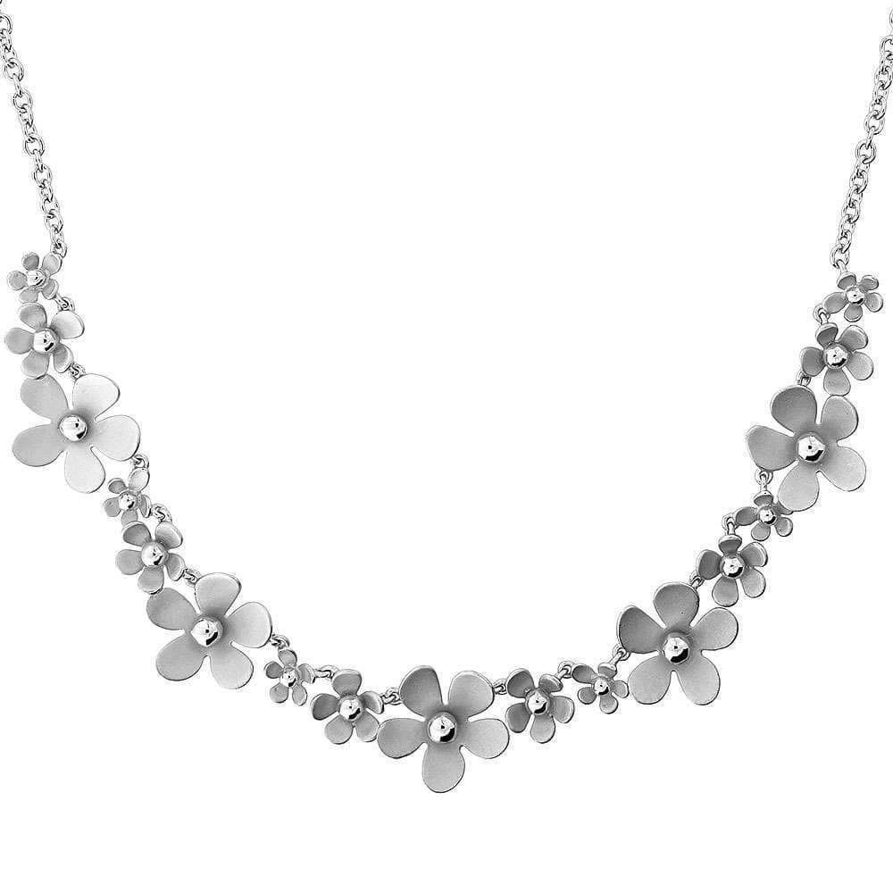 Frosted Silver Flowers Necklace