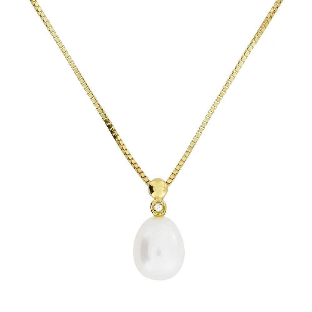 Gold Teardrop Pearl & Diamond Pendant