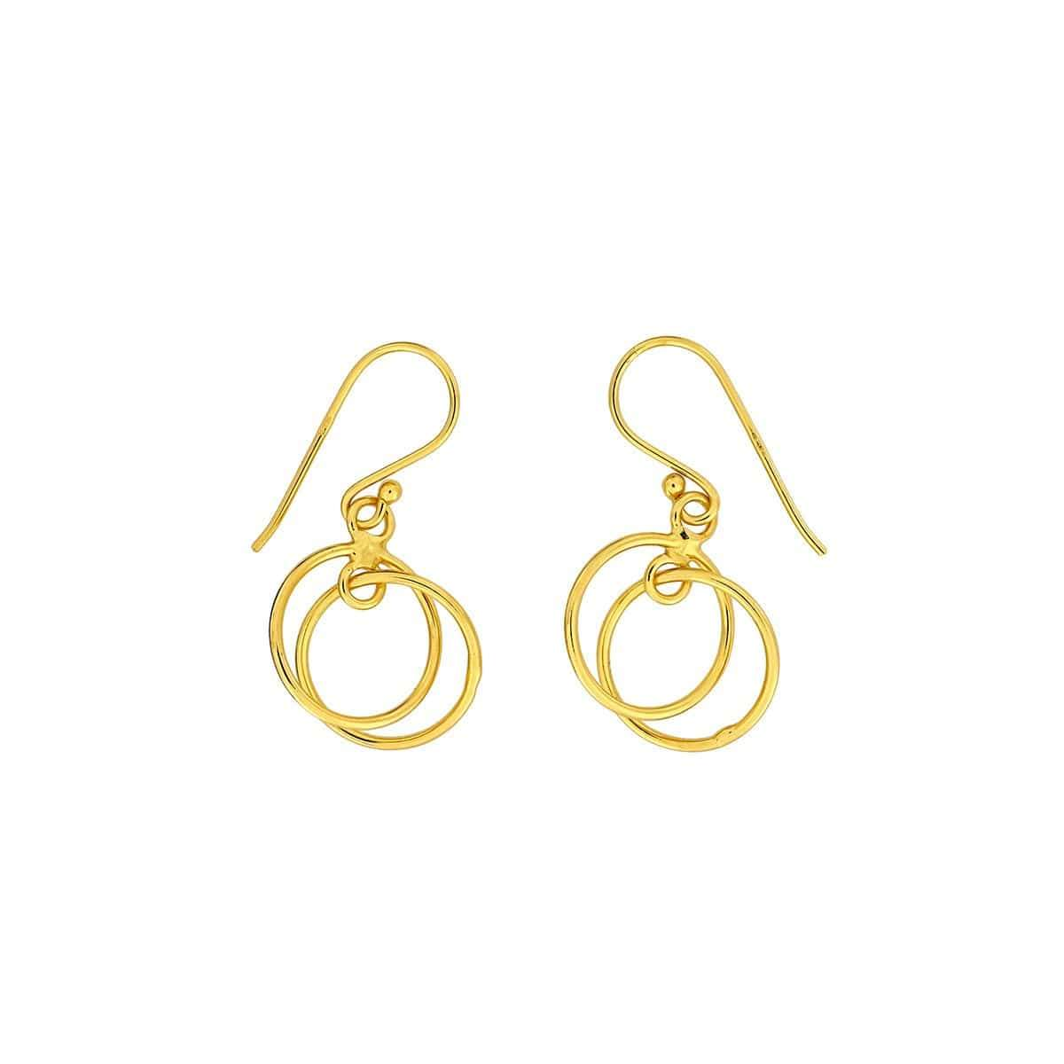 Rose Gold Vermeil Double Circle Drop Earring