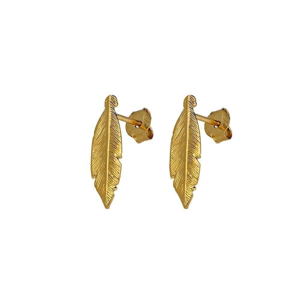 Gold Vermeil Spirited Away Feather Stud Earrings