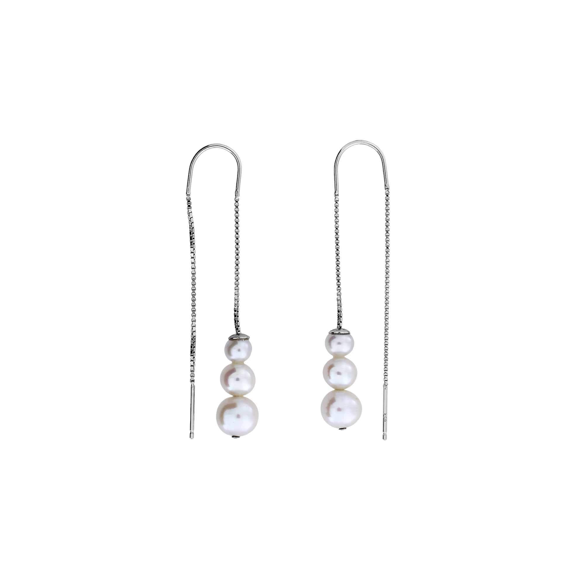 Graduated Pearls Threader Earrings