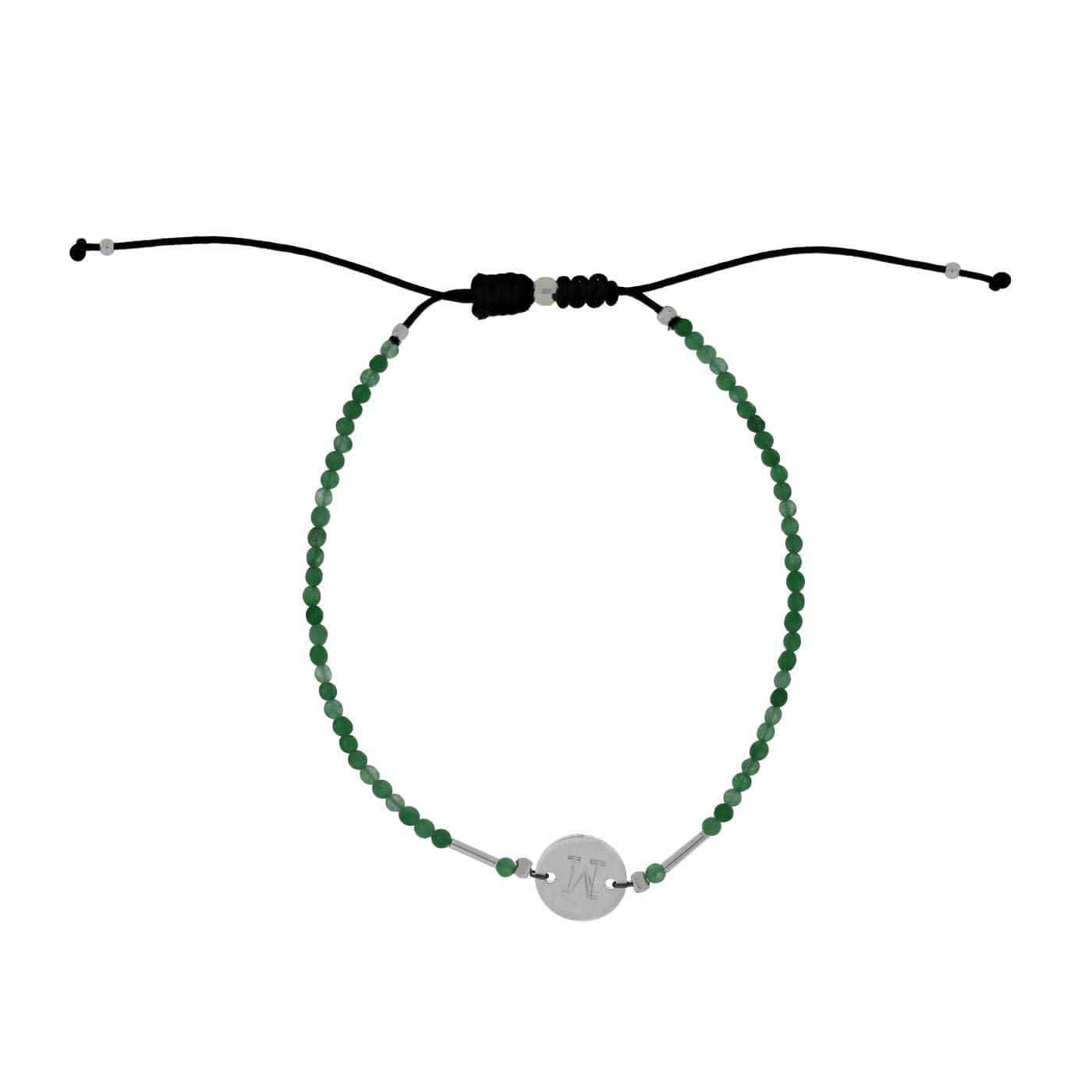 Green Agate Letter M Gemstone Friendship Bracelet