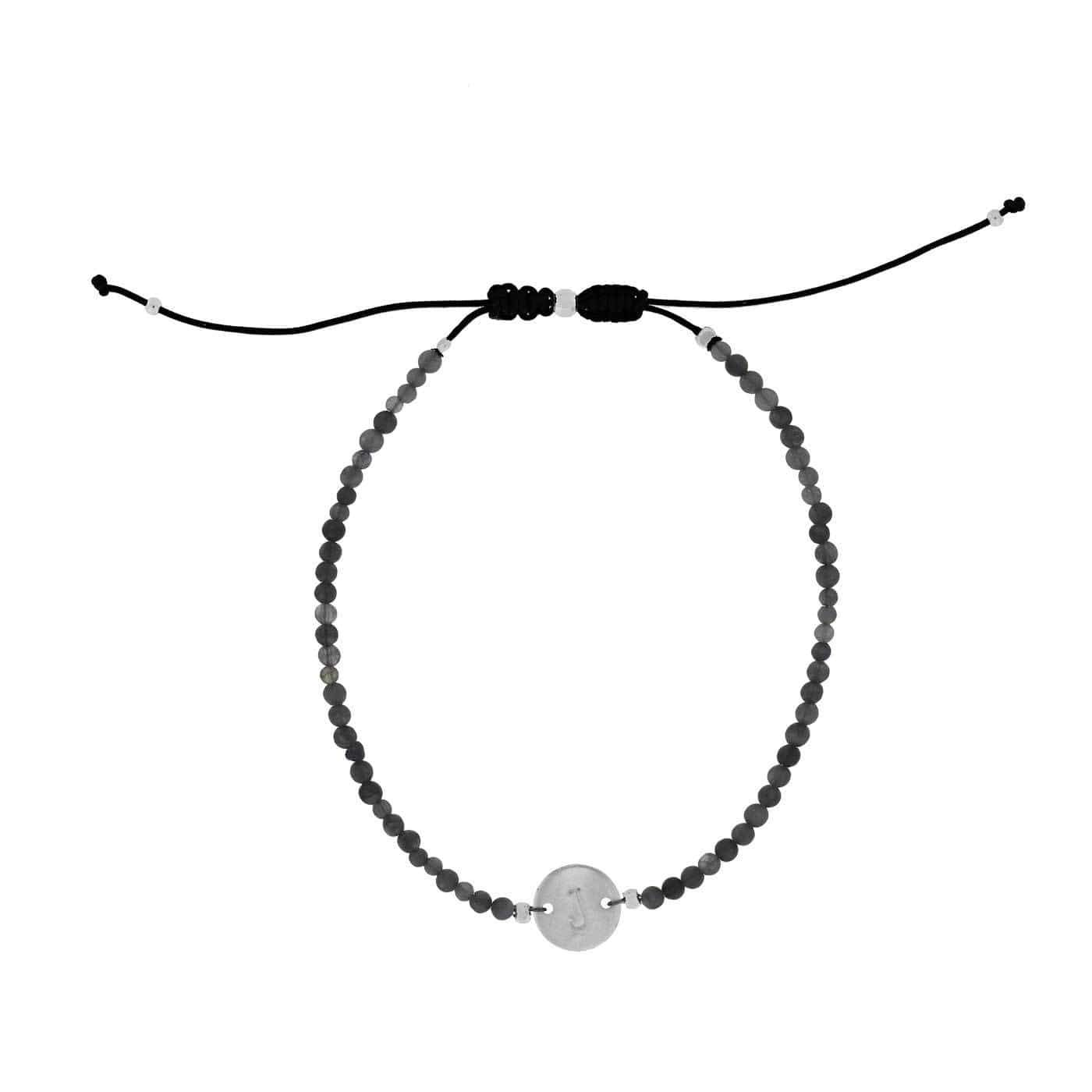 Grey Agate Letter J Gemstone Friendship Bracelet