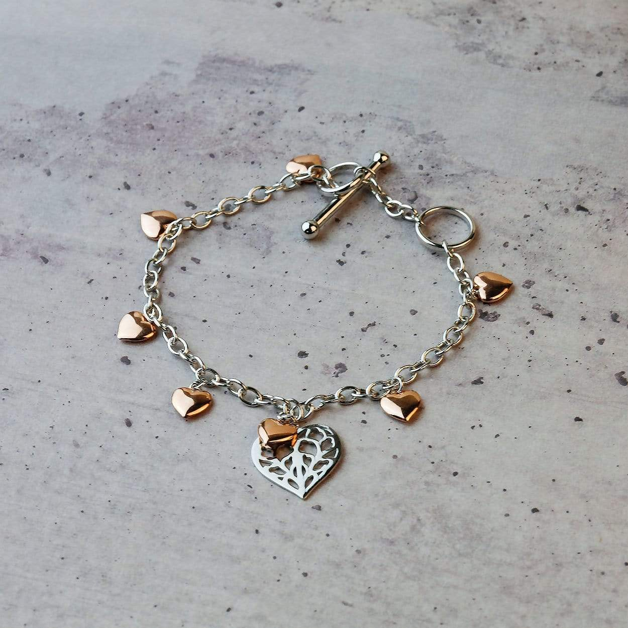 Heart of Yorkshire T-Bar Bracelet with Rose Gold Vermeil