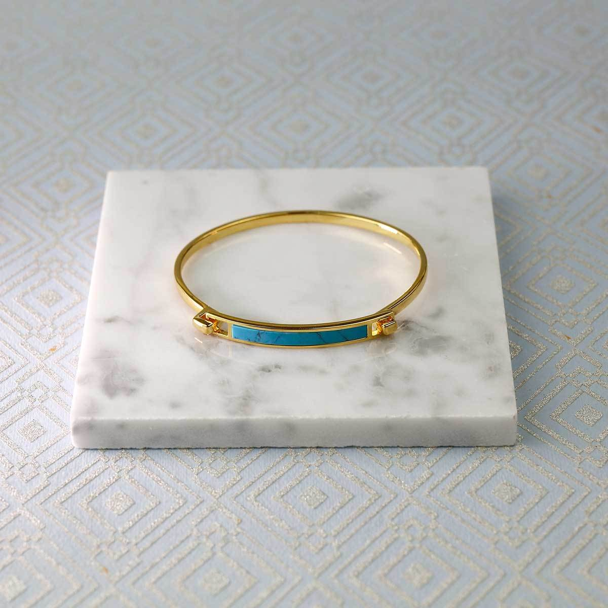 Horizon Bar Bangle in Sky Blue Howlite