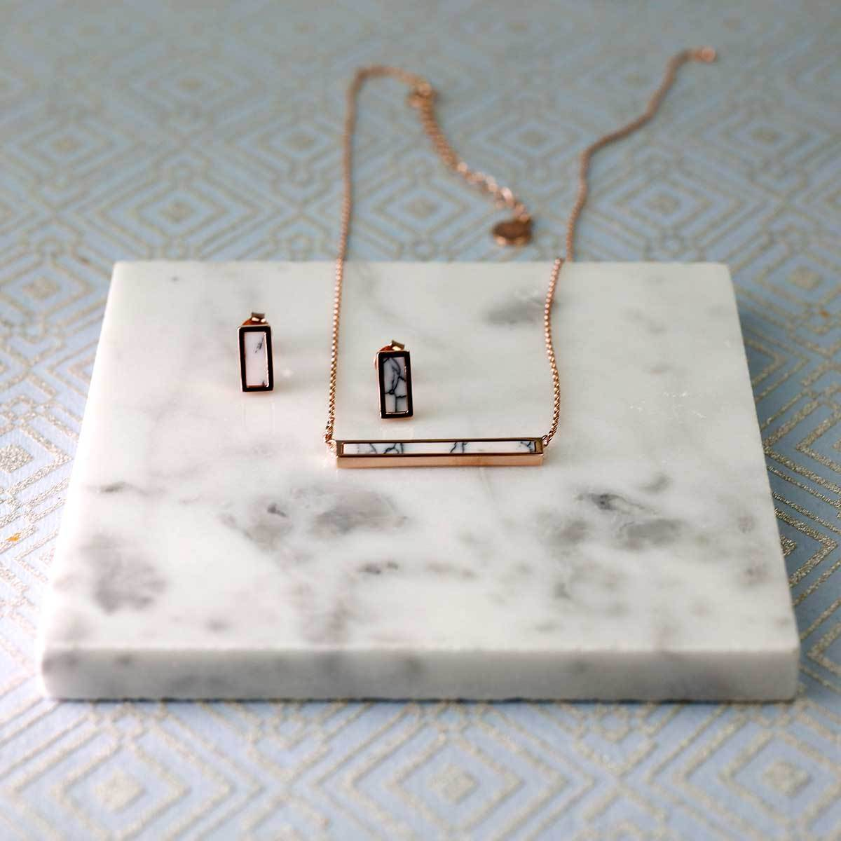 Horizon Bar Necklace in White Howlite
