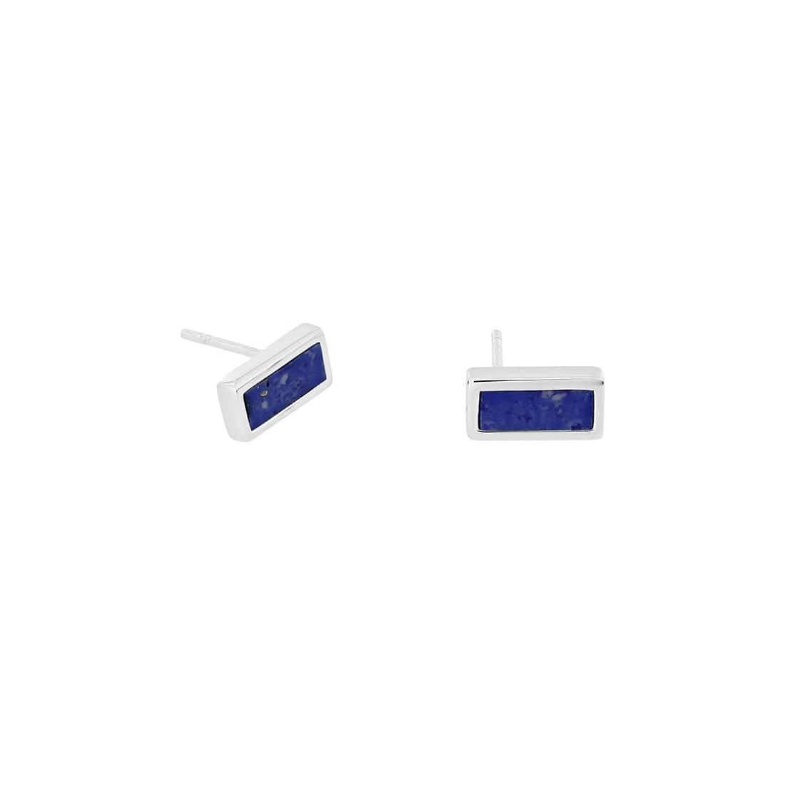 Horizon Bar Stud Earrings in Blue Howlite
