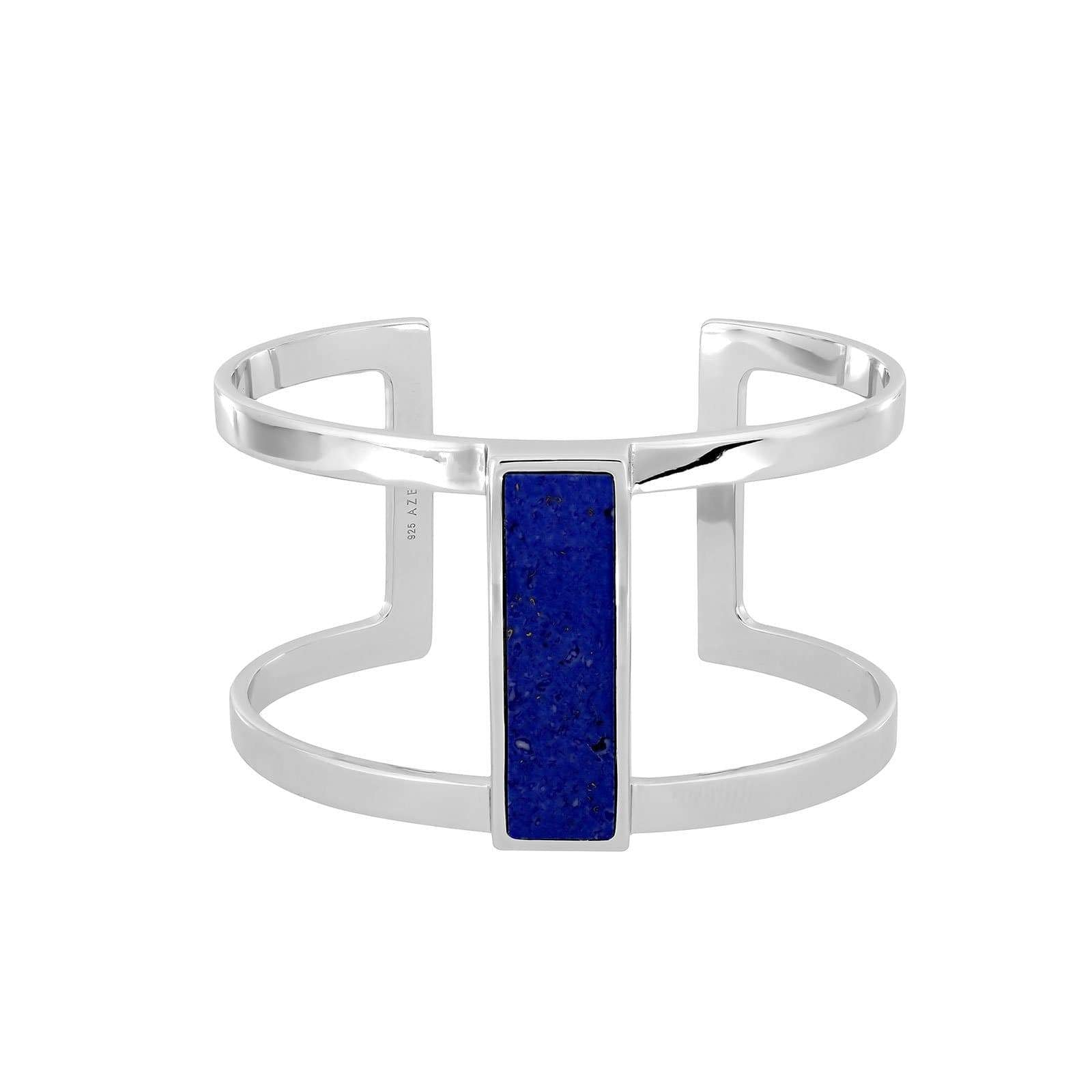 Horizon Silver Statement Cuff in Blue Howlite
