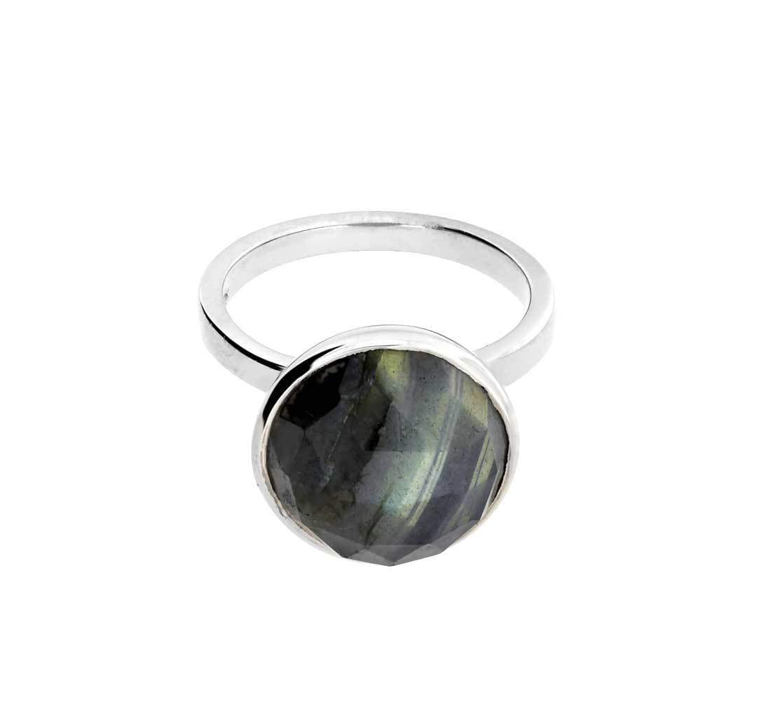 Labradorite Faceted Dome Ring