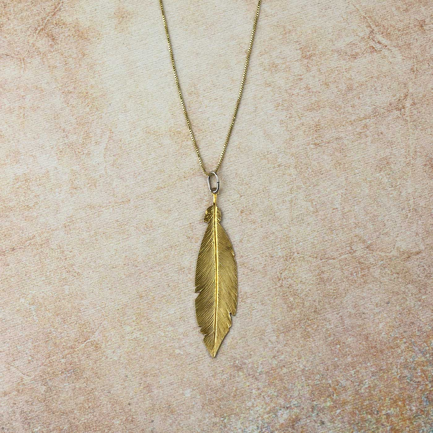 "Rose Gold Vermeil / 16-18"" Large Feather Pendant"