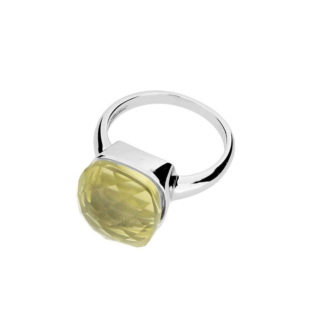 Lemon Quartz Square Cocktail Ring
