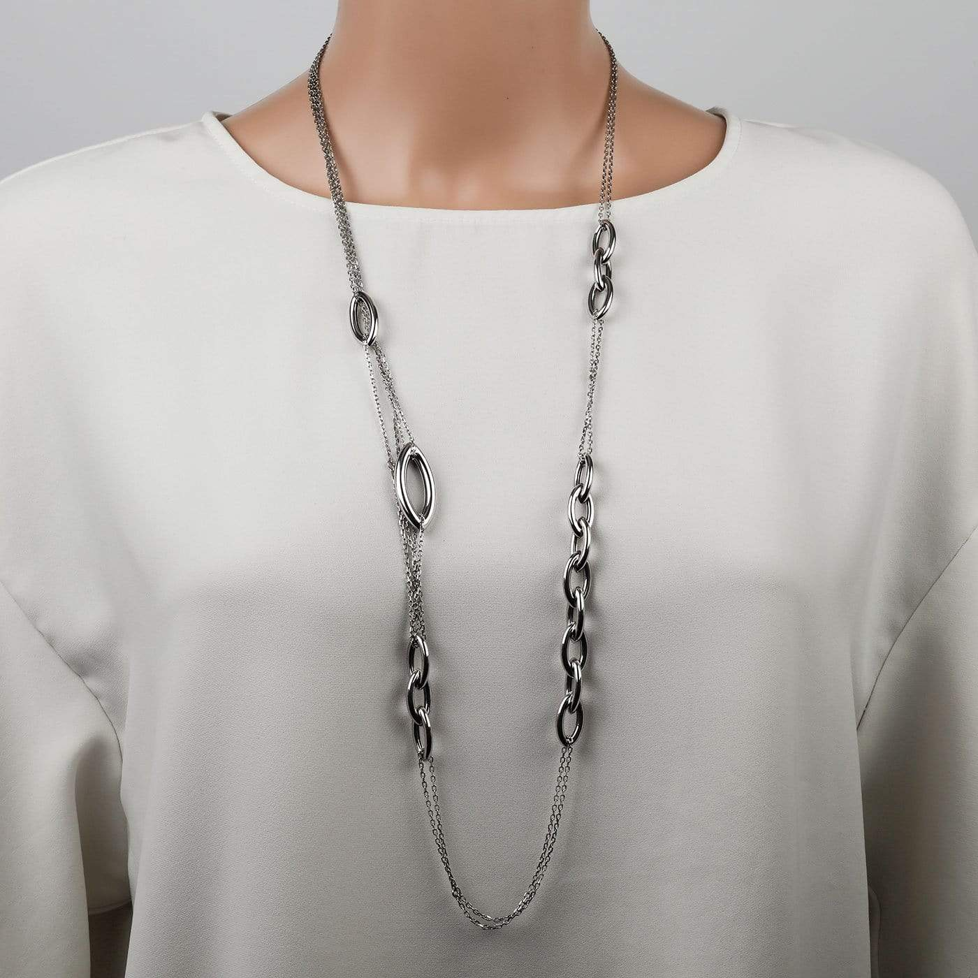 Long Length Marquise Links Necklace
