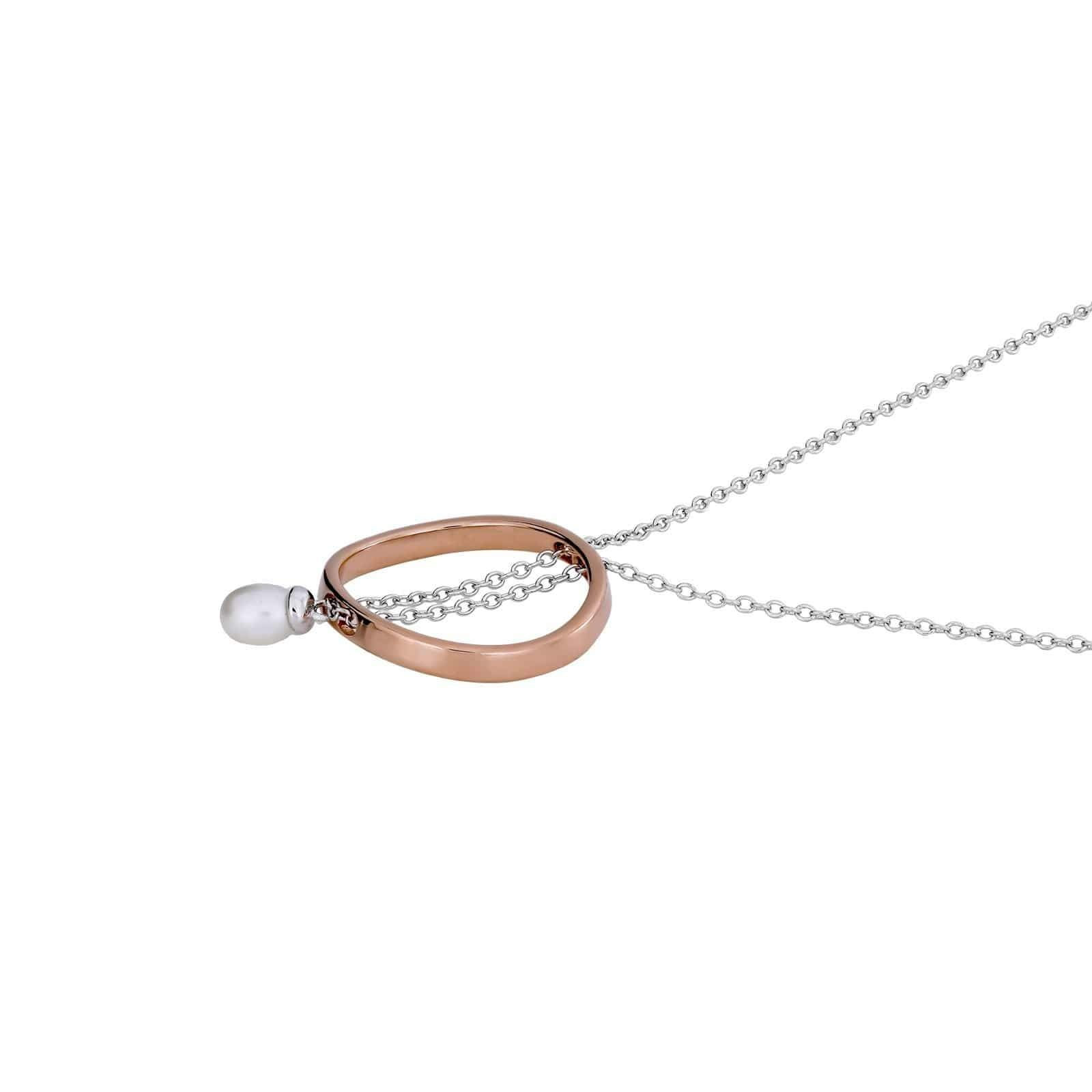 Metropolitan Rose Vermeil Circle & Pearl T-Bar Necklace