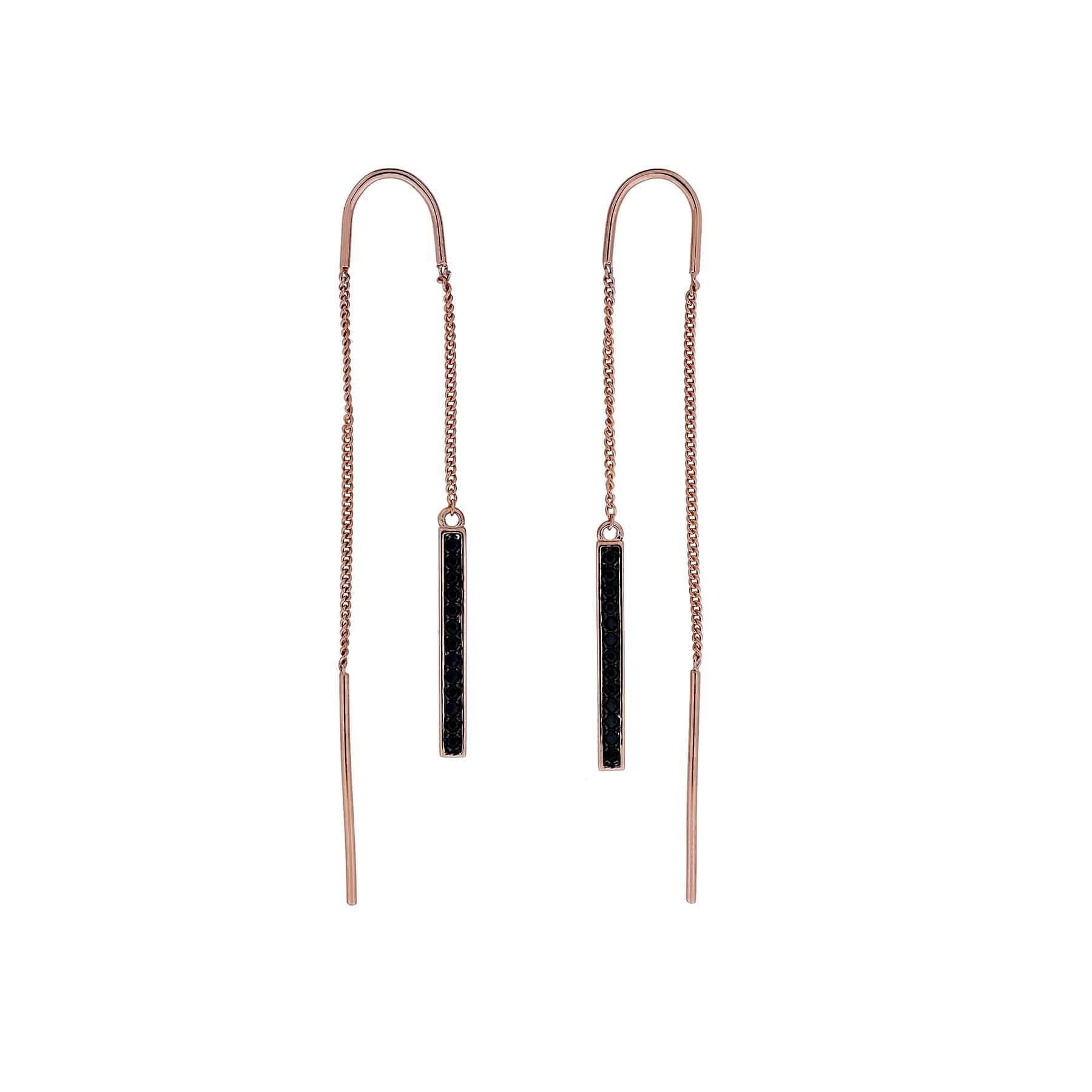 Midnight Rose Bar Threader Earrings