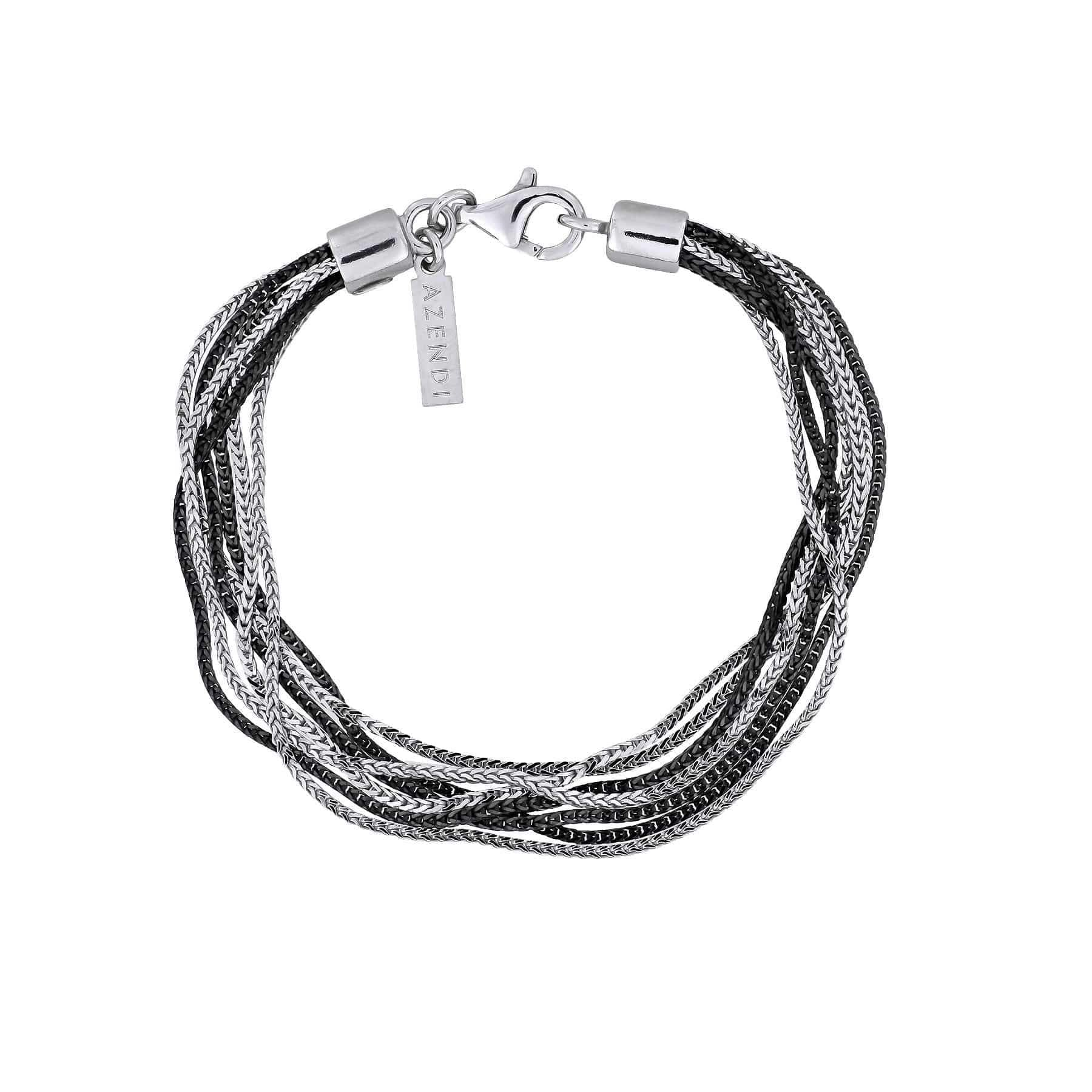 Multiple Strands Bracelet in Silver & Black Rhodium