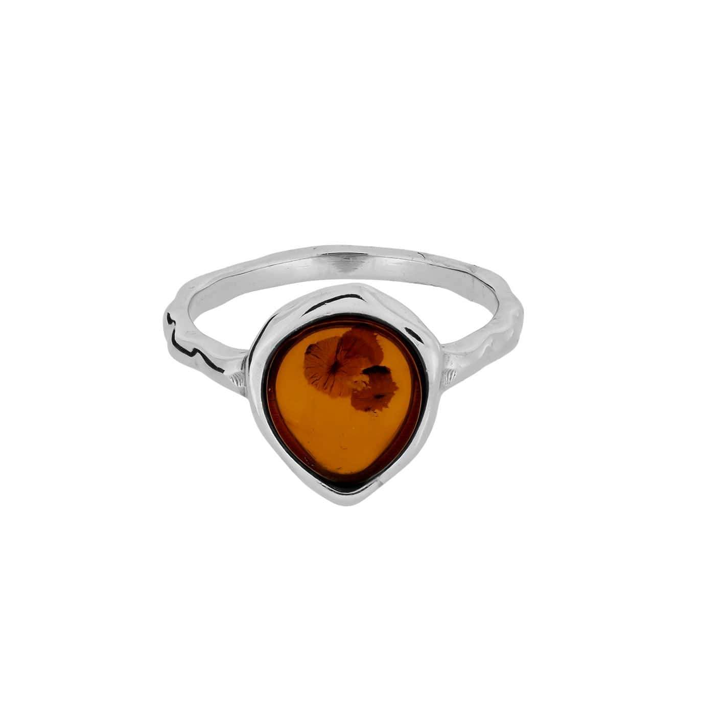 Northern Lights Baltic Amber Ring in Silver