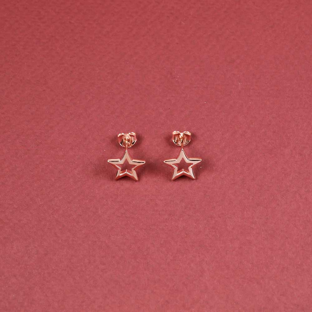 Open Star Stud Earrings - Rose Vermeil