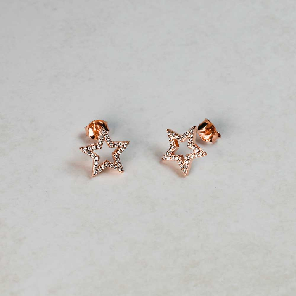 Pavé Open Star Stud Earrings - Rose Vermeil