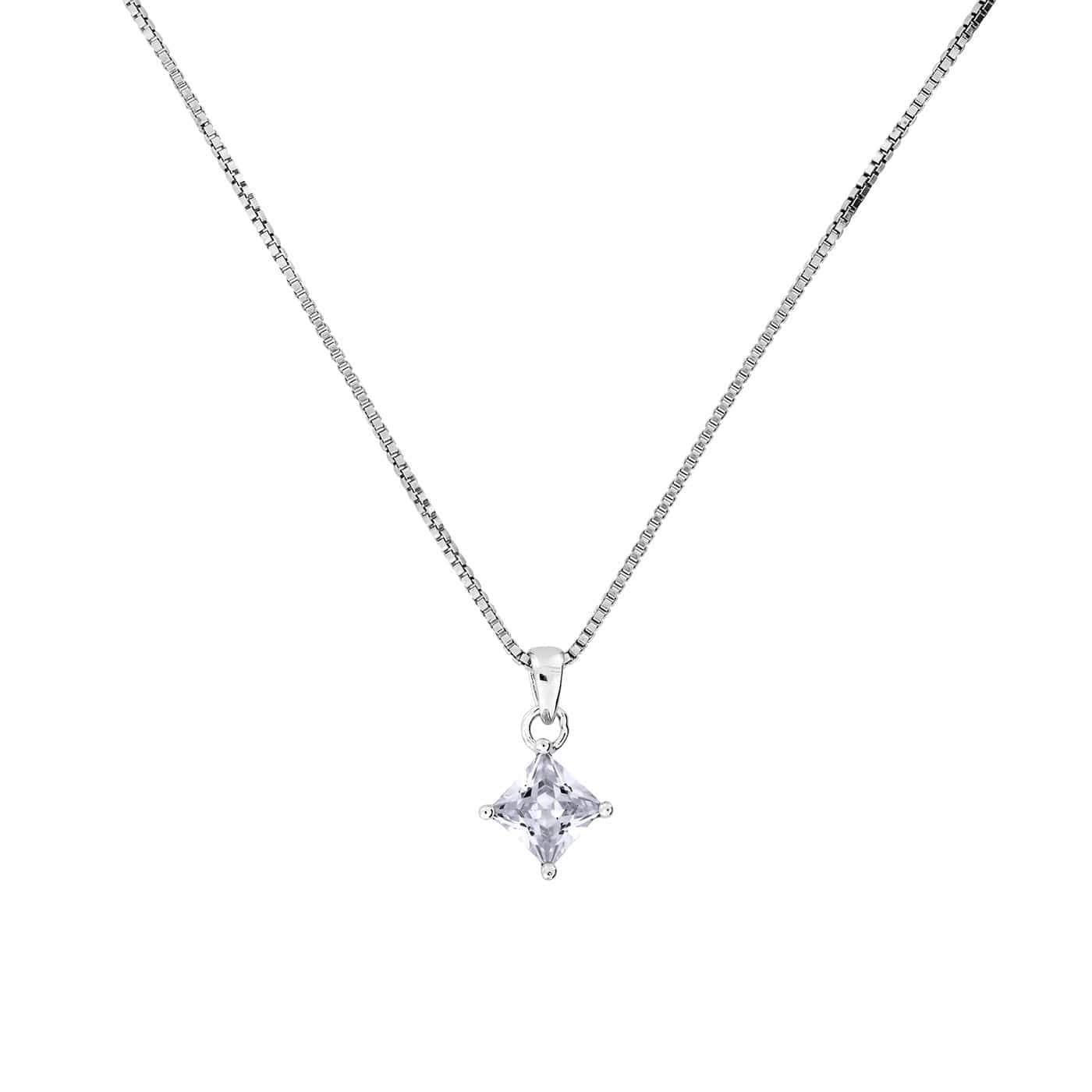 Princess Cut CZ Pendant with Claw Setting 5mm