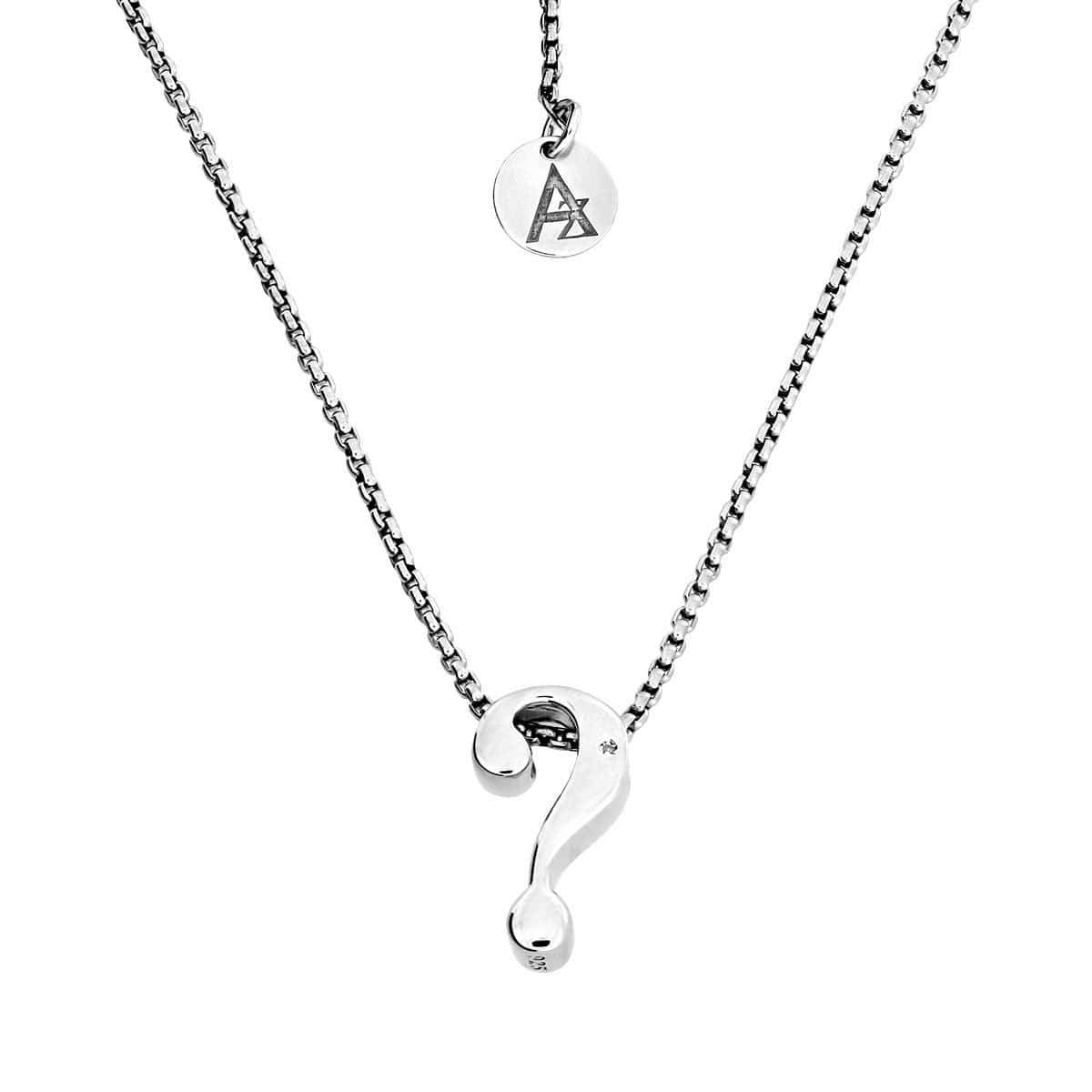 Question Mark Diamond Silver Pendant