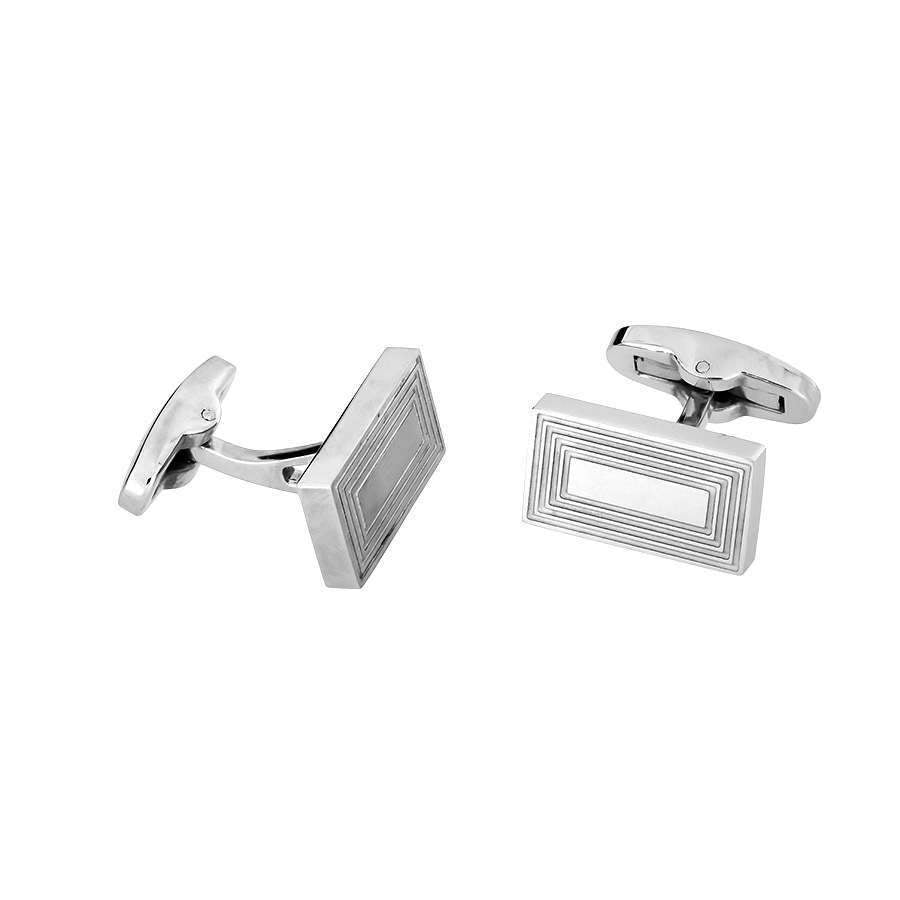 Rectangle Steel Grooves Cufflinks