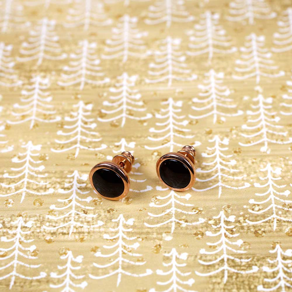 Rose & Amber Large Button Studs; 8mm