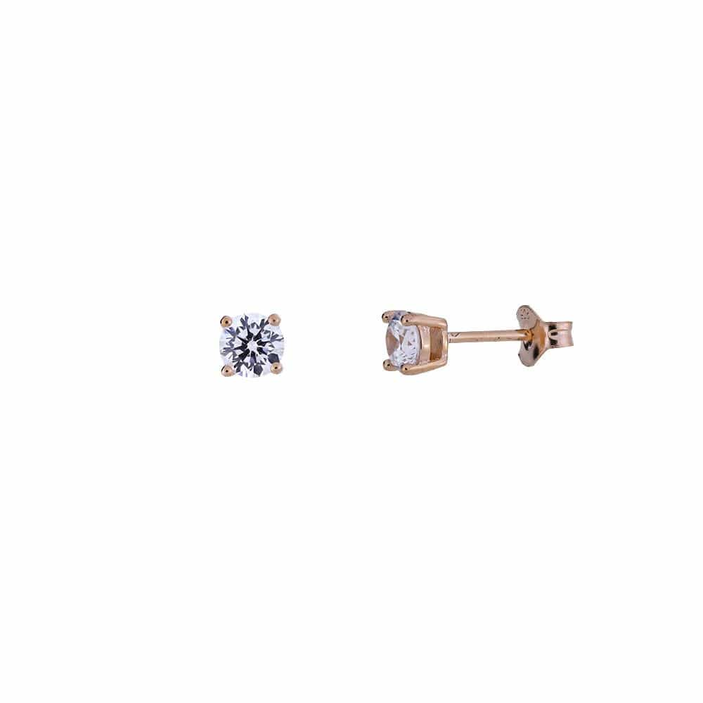 Rose Gold Vermeil Round Brilliant Cut Cz Claw Set Stud Earrings - 5mm