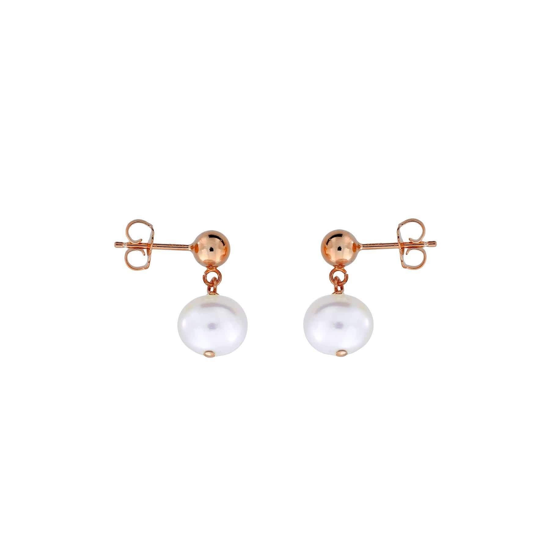 Silver Round Pearl Drop Earrings - 8mm