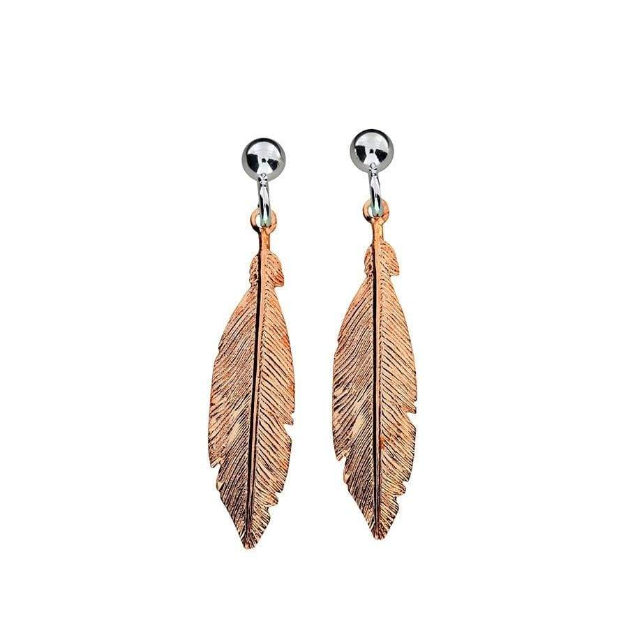 Rose Gold Vermeil Spirited Away Single Feather Earrings