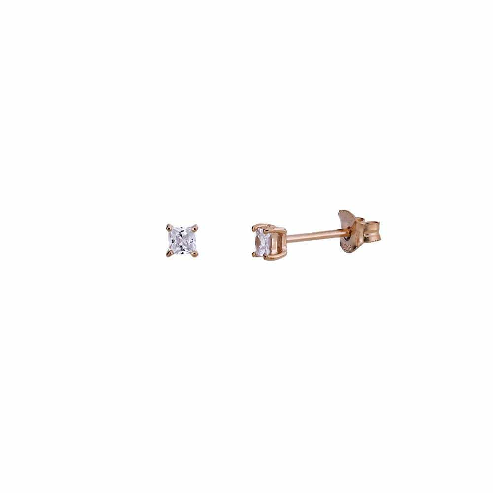 Rose Gold Vermeil Square Princess-Cut CZ Claw Stud Earrings 3mm