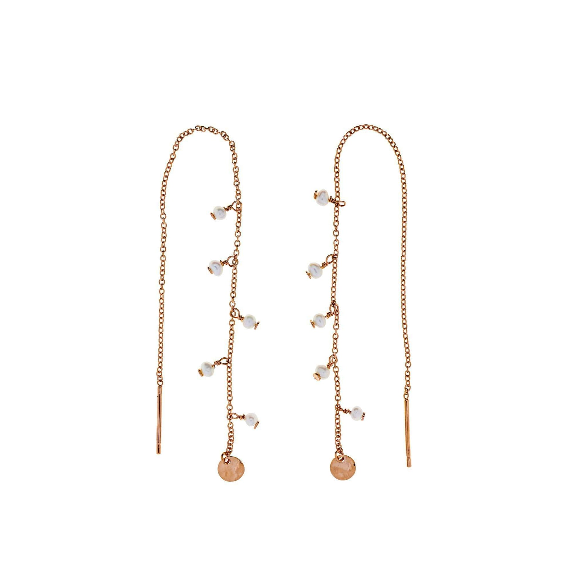 Rose Gold Vermeil Tribeca Pearl & Disc Pull Through Earrings