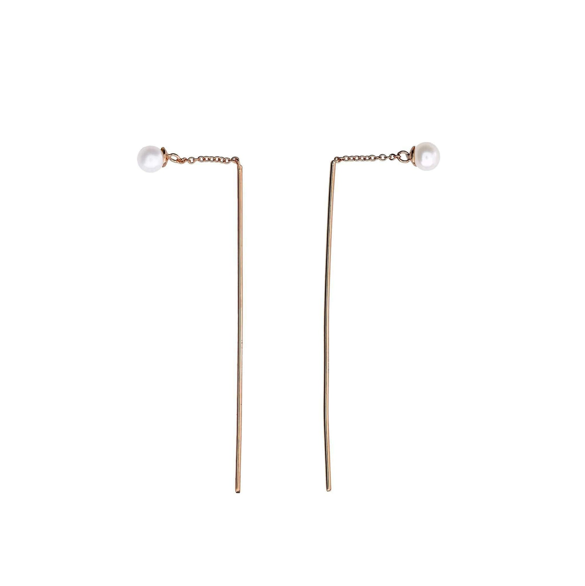 Silver Tribeca Pearl Stud & Bar Pull Through Earrings