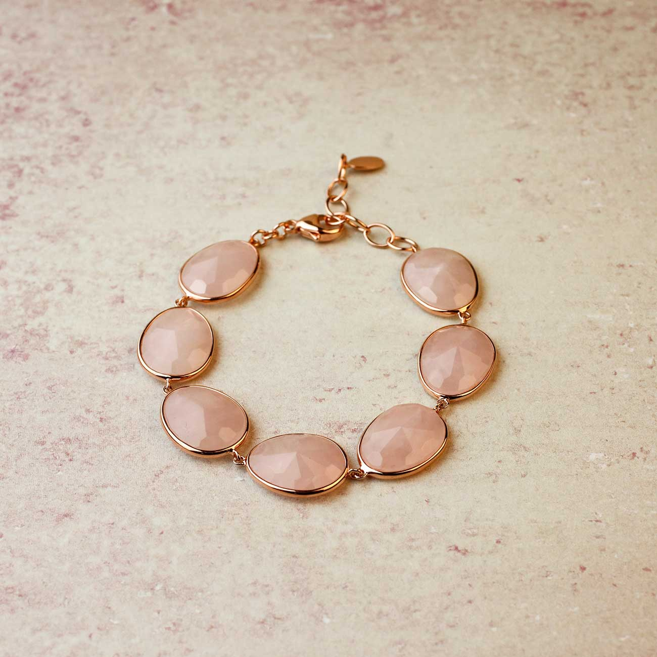 Rose Quartz and Silver Bracelet