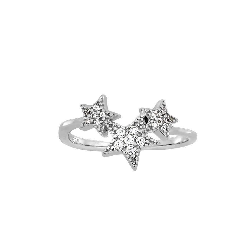 Silver 3 CZ Star Cluster Ring