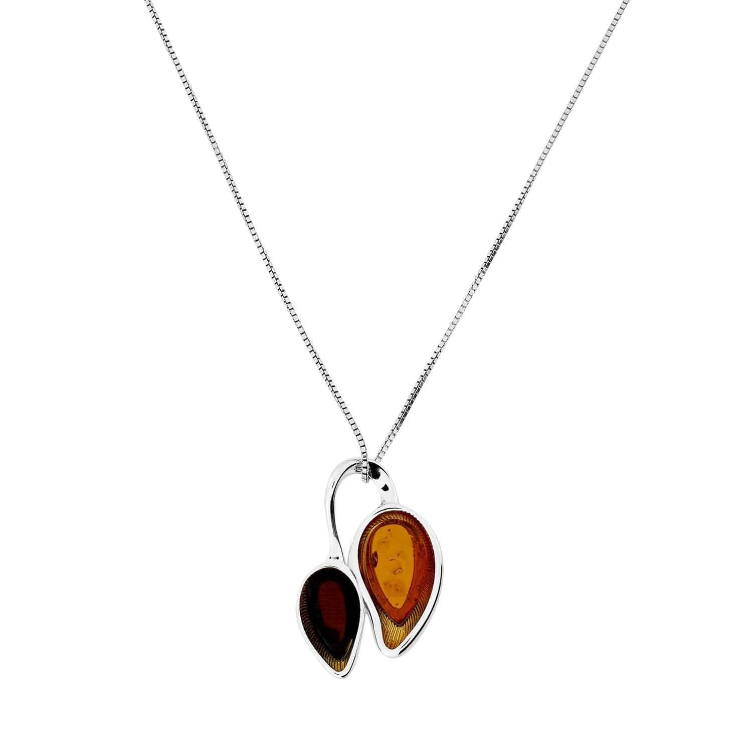 Silver Amber Double Necklace with Gold Vermeil Setting