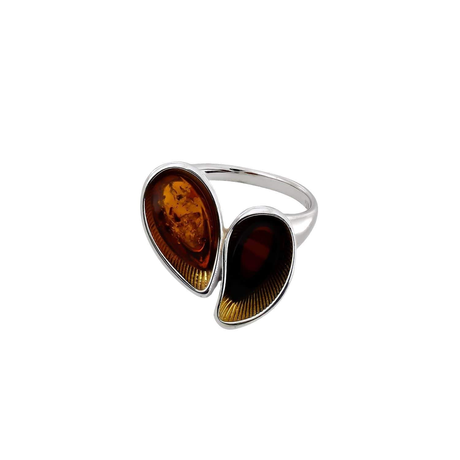 Silver Amber Double Ring with Gold Vermeil Setting