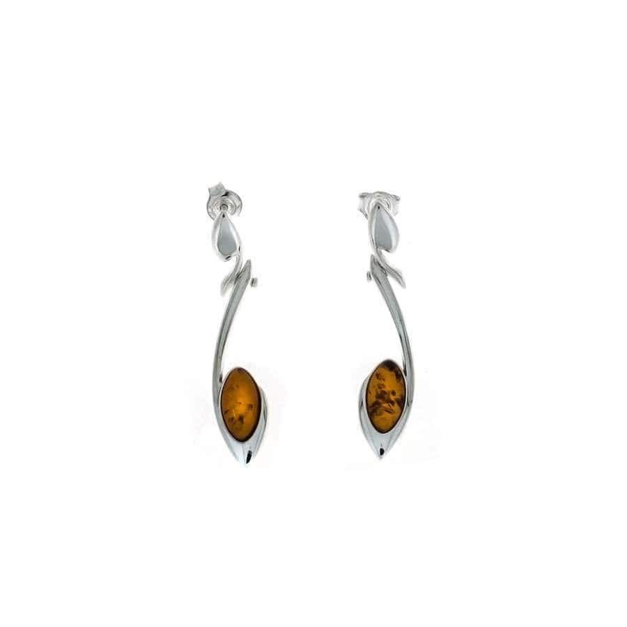 Silver & Amber Marquise Curl Earrings