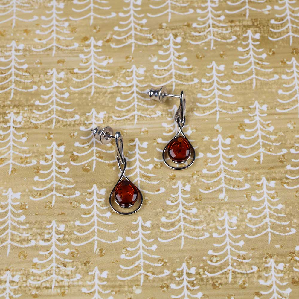 Silver & Amber Teardrop Twist Earrings