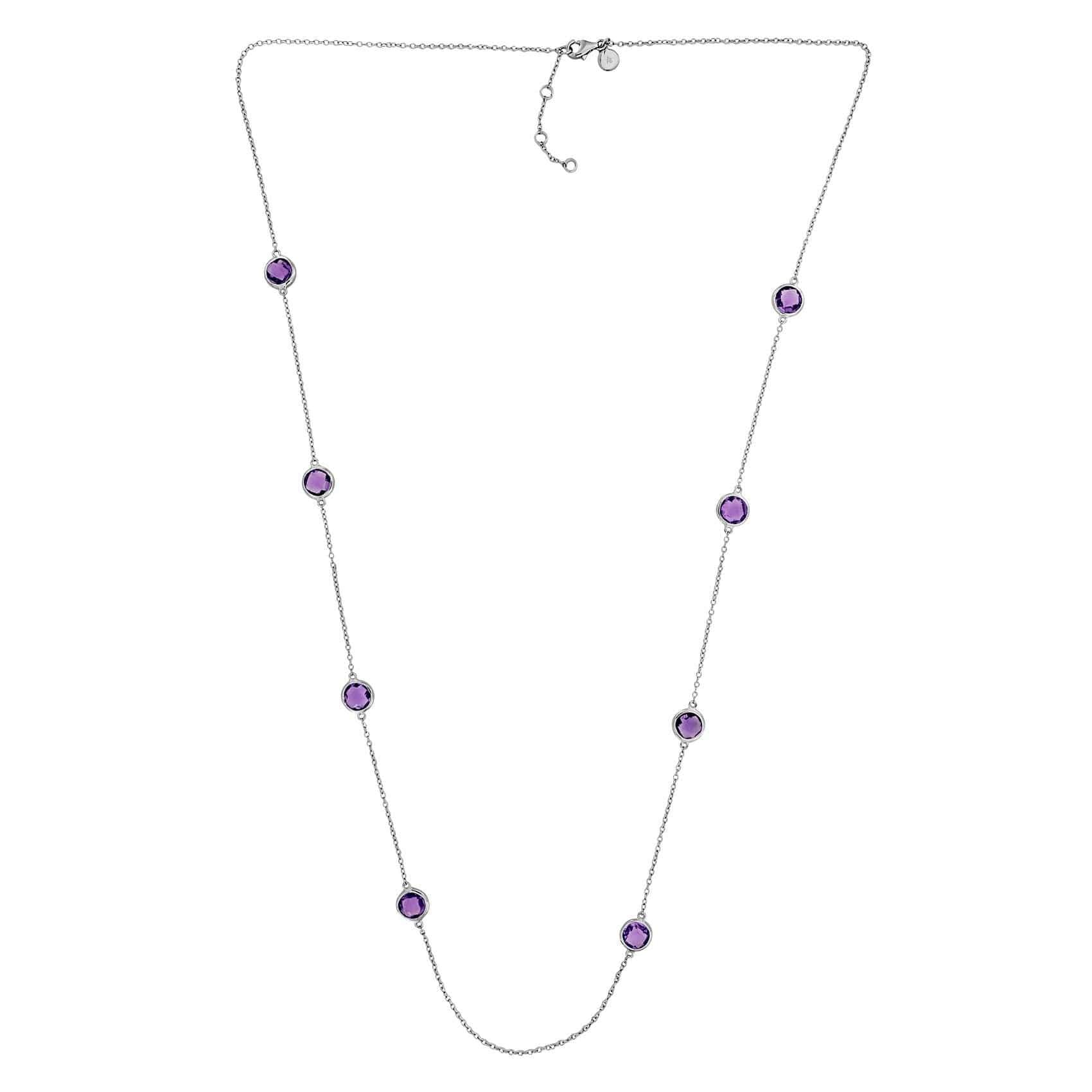 Silver & Amethyst Long Necklace