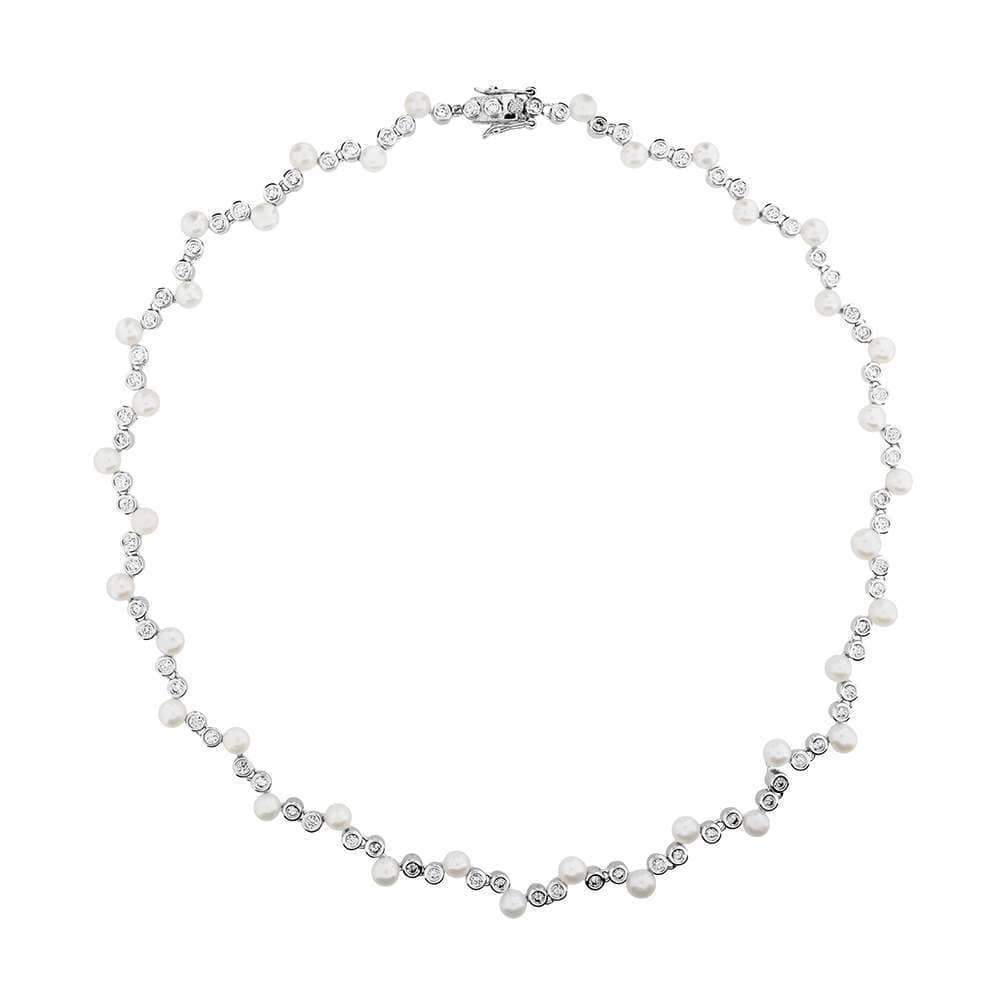Silver and Pearl Cluster Necklace