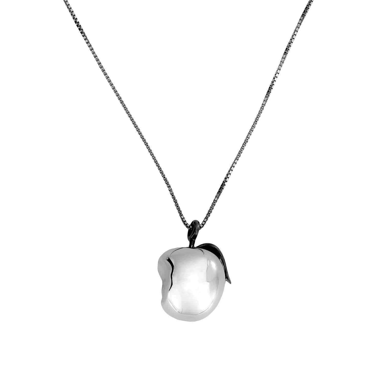 Silver Apple Pendant with Rhodium Stalk